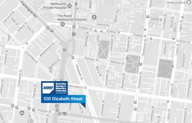 ANMF (Vic Branch) location map of 535 Elizabeth Street
